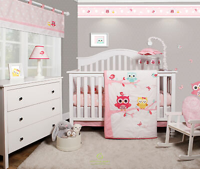 6-Piece Enchanted Owls Family Baby Girl Nursery Crib Bedding Sets By OptimaBaby