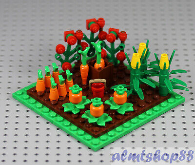 16x Flower Lot Red Pink LEGO Garden Farm Cherry Blossom Leaves Plants Town