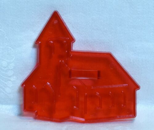 Vintage HRM Design Red Plastic Cookie Cutter -  Church Christmas Easter Wedding