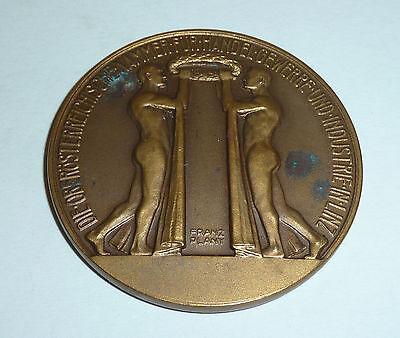 Art Deco Medaille Linz Österreich 1937 Medailleur Franz Plany Industrie & Handel