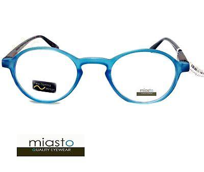 NWT$39.99 MIASTO RETRO ROUND KEYHOLE PREPPY READER READING GLASSES+1.25 BLUE