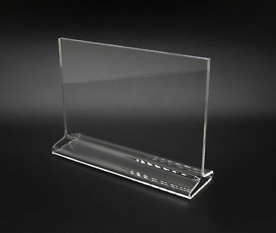 7 X 5 Acrylic Sign Holder For Tabletops Horizontal Top Insert T-style - Clear