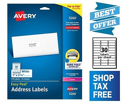 Avery Address Label With Sure Feed 750 Labels For Laser Printers 1 X 2-58