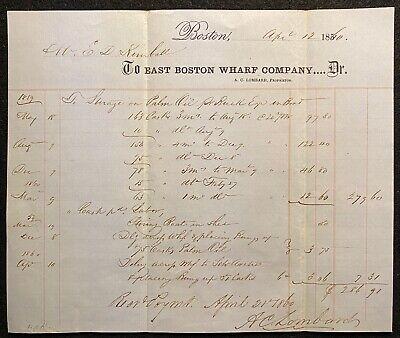 1860 **PRE CIVIL WAR** ~EAST BOSTON WHARF CO.~ BOSTON, MASS. BILLHEAD!  NOTABLE!