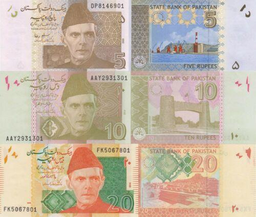 Pakistan 3 Note Set: 5, 10 & 20 Rupees (2009/2014) - p53b, p45i, p55g UNC