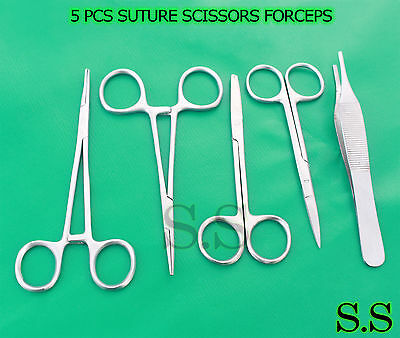 5 Pcs Suture Scissors Forceps Hemostats Needle Holders Surgical Instrume Ds-1278