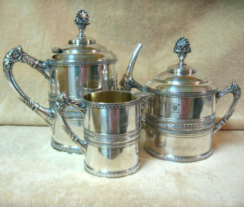 Antique Meriden Britannia Quadruple Plate Silverplate Teapot Waste Pot & Creamer