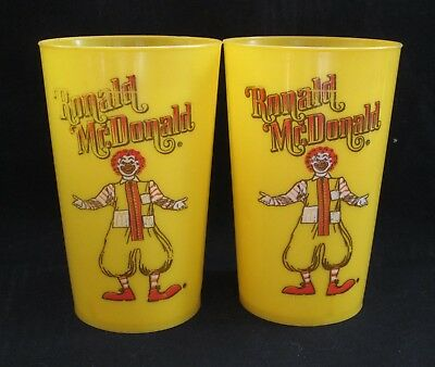 1980 Vintage Ronald McDonald Plastic Drinking Cups Yellow USA