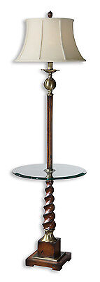 - Myron Twist End Table Floor Lamp, Distressed Cherry Finish by Uttermost 28568
