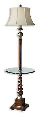 Myron Twist End Table Floor Lamp, Distressed Cherry Finish by Uttermost 28568