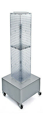 Clear 4-sided Pegboard Display On Wheeled Metal Base 8w X 40h Inches