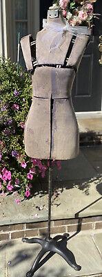 Antique 1900s Industrial Adjustable Mannequin Dress Form Ornate Cast Iron Base