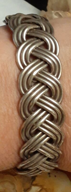 Vintage Mexico Fine Sterling Silver Braided Cuff Bracelet Size small TR-77