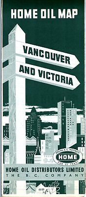 1953 Home Oil Road Map: Vancouver and Victoria NOS