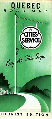 1939 Cities Service Road Map: Quebec NOS