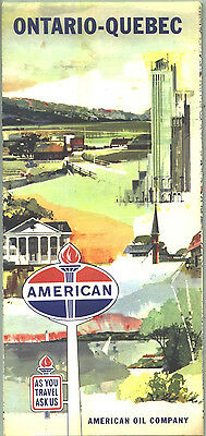 1960s American Oil Ontario/Quebec Vintage Road Map