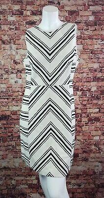H&M Ivory Black  Sleeveless  Chevron Zig Zag Sheath Dress Size 12