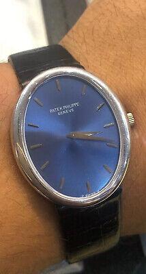 Patek Philippe Ellipse Oval Blue Dial 18k White Gold Large Size Mechanic