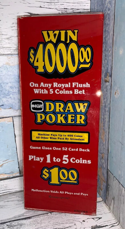 """Draw Poker Slot Glass 10.5"""" X 4.5"""" Value Priced $15 Shipped"""