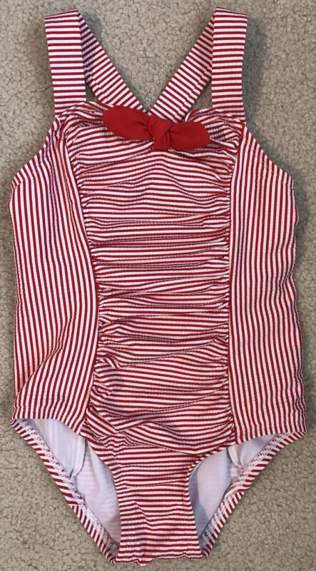 CAT & JACK 5T Girls Red And White Stiles RETRO One Piece Ruched Swimsuit