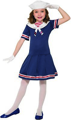 Girls Classic 1920's Sailor Dress Hat Uniform Navy USO Fancy Halloween Costume (Sailor Costumes For Girls)