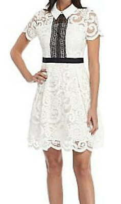 Nanette Lepore Lace Affair Dress 10 Large Black White Overlay Constrast Panels