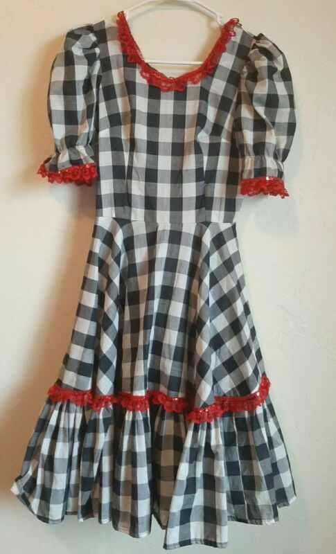Vintage Handmade Square Dance Dress Black White Check Peasant Red Lace Sequins