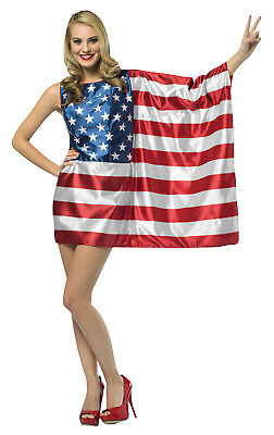 Womens 4Th Of July Patriotic Flag Dress Usa Adult Costume Theme Halloween Party (4th Of July Costumes For Women)