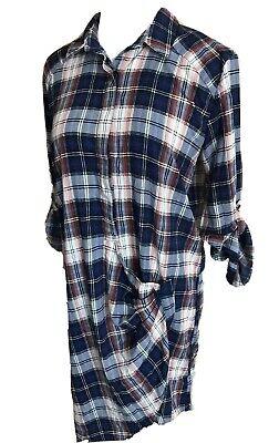 Do + Be Plaid Long Sleeve Shirt Dress Small Asymmetric Tartan Button Up Tunic