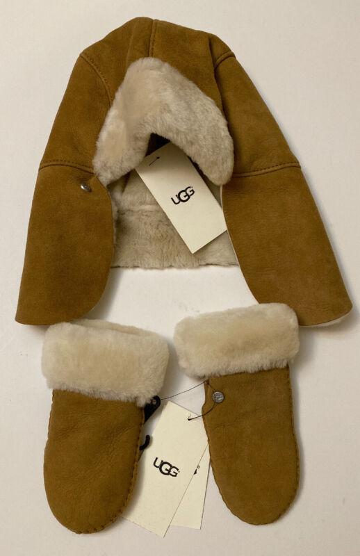 UGG Australia Boys Sheepskin Trapper Chestnut Hat & Mittens 2-4Y NWT Gloves New