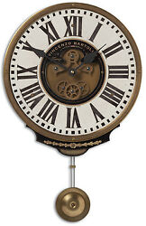 VINTAGE FRENCH STYLE 17 IVORY BRASS FINISH PENDULUM WALL CLOCK ROMAN NUMBERS