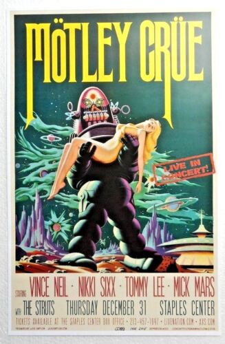 Motley Crue Final Show Gig Poster signed by artist Jefferson Wood 12-31-15  #144
