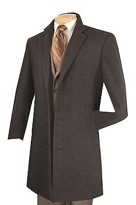 Wool Single Breasted 3 Button - Men's Trench Over Coat Single Breasted 3 Buttons 38
