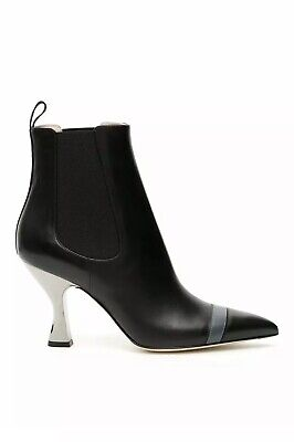 New Fendi Black Leather Colibri Leather Ankle Boots Curved Heel Shoes Sz Eu 39