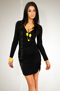 ☼ Stunning Cocktail Dress ☼ Bodycon Long Sleeve V-Neck Wrinkle Size 8-18  FT1171