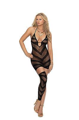Fishnet Halter Mini Dress - Opaque & Fishnet Halter Mini Dress One Leg Warmer Exotic Adult Woman