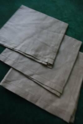 3 antique men's UNUSED khaki Irish linen hankies / handkerchiefs - ladderwork