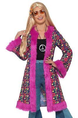 Smi - Damen Kostüm Hippie Mantel rosa Karneval Fasching