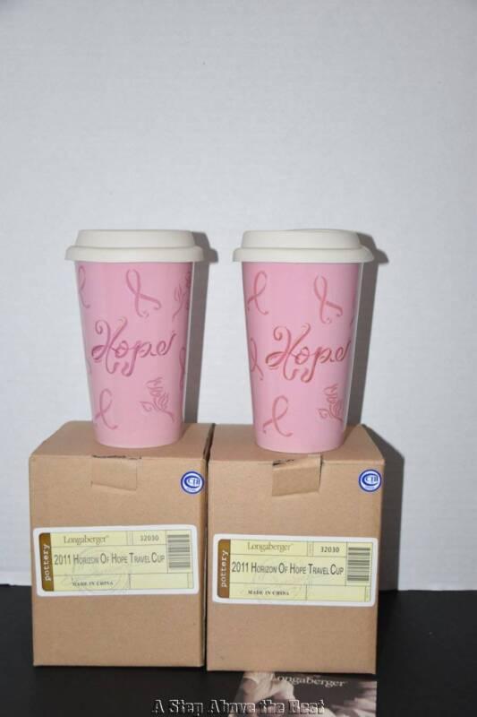 Longaberger Set of 2 Horizon of Hope Travel Cups -NEW