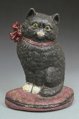 VINTAGE/ANTIQUE HUBLEY CAST IRON BLACK CAT DOORSTOP