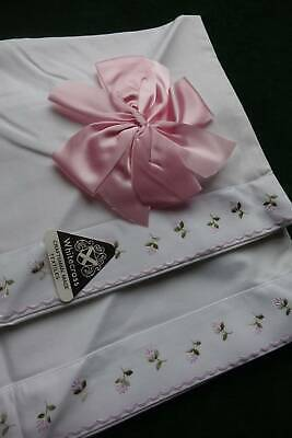 Pair vintage UNUSED white cotton pillowcases with pink blossom embroidery
