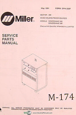 Miller Syncrowave 300 500 Acdc Welding Power Sources Service Parts Manual