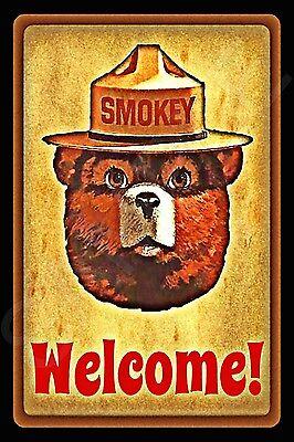 WELCOME SMOKEY BEAR U.S. FOREST SERVICE METAL SIGN 8X12 RUSTIC LOG CABIN LODGE