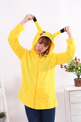 Pokemon Pikachu Adult Costume Hoodie Sweater Shirt Zipper Jacket Hoodie Size: S (Pikachu Costume Adult)