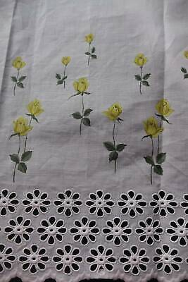 3yds vintage unused cotton Swiss embroidery lace - yellow roses - 112