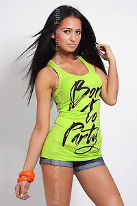☼ SUMMER ☼Sexy Vest Top Born To Party Boxer Top Trendy Colors One Size 8-10-12