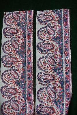 Vintage hand block printed blue / pink paisley cotton border panels  6.5