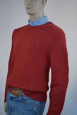 Ralph Lauren Red Crewneck High Twist Cotton Sweater/Black Pony-NWT