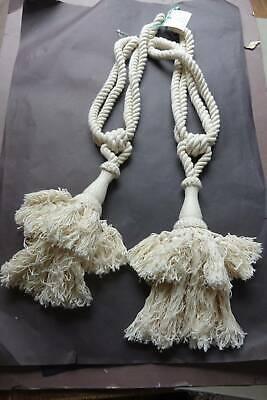 Large pair of UNUSED cream cotton curtain tiebacks. Large tassels