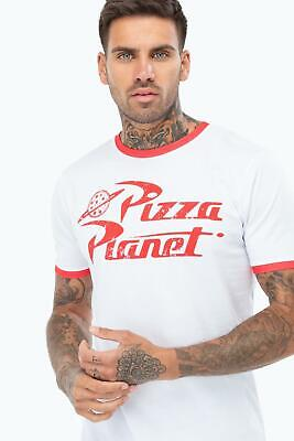 Toy Story Planet Pizza Logo Woody Buzz PDX120 Unisex White Red Ringer T Shirt ()